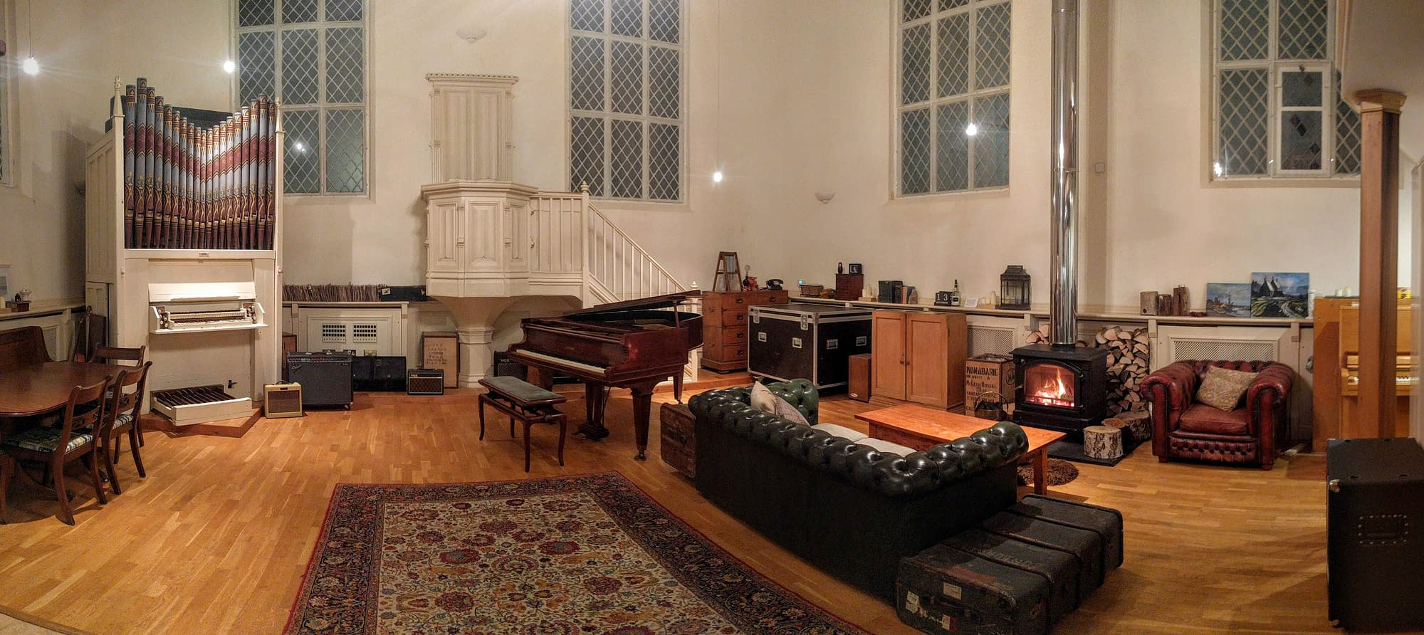 Grand Chapel Studios - Main Room - Fireplace, Organ, Grand Piano